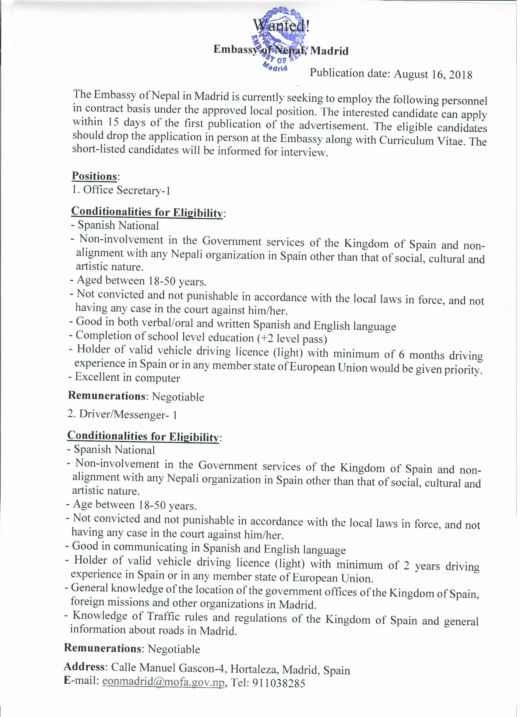 Vacancy Announcement - Embassy of Nepal, Spain